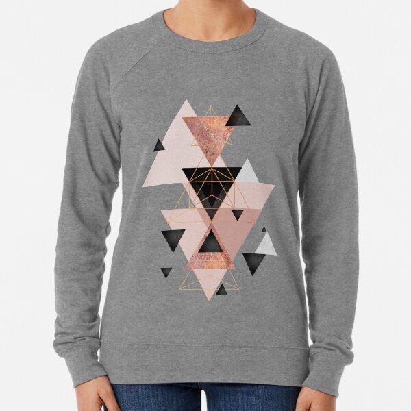 Geometric Triangles in blush and rose gold Lightweight Sweatshirt