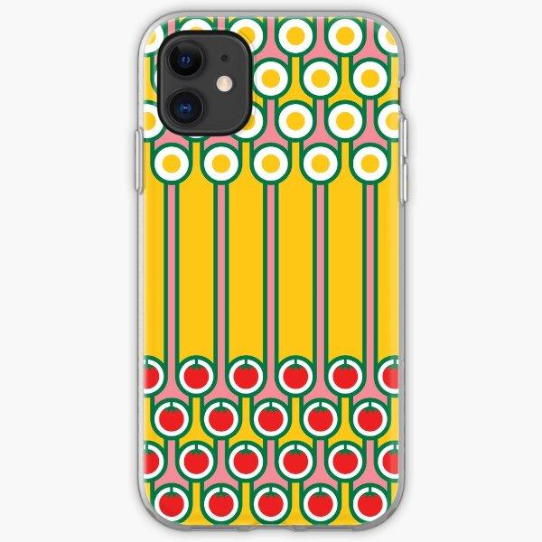 Scandi Midcentury Modern Retro Geometric Eggs Tomatoes Stripey Pattern iPhone Soft Case