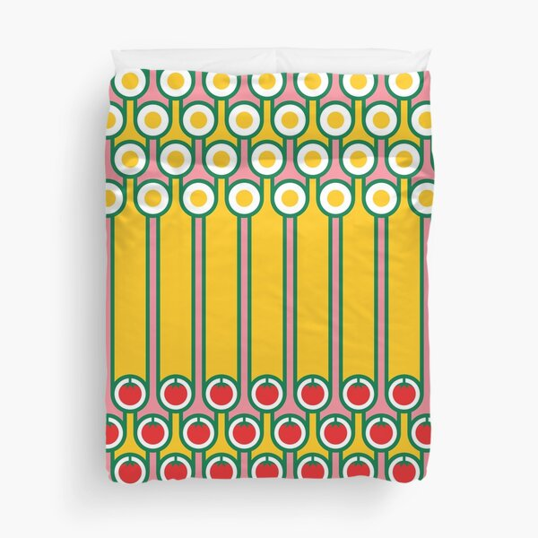 Scandi Midcentury Modern Retro Geometric Eggs Tomatoes Stripey Pattern Duvet Cover