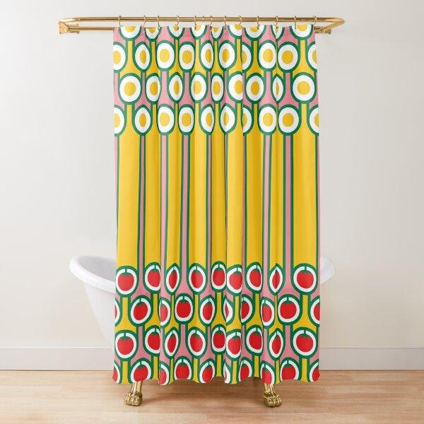 Scandi Midcentury Modern Retro Geometric Eggs Tomatoes Stripey Pattern Shower Curtain