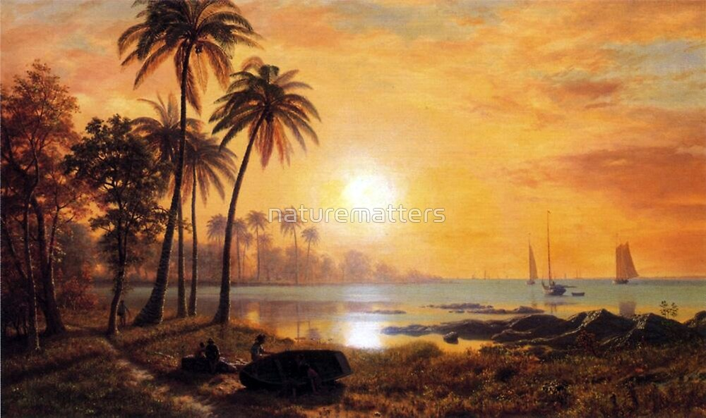 Bierstadt Albert tropical Landscape with Fishing Boats in Bay.  Breathtaking landscape oil painting fine art.   by naturematters