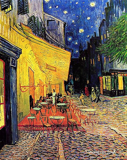 The Cafe Terrace on the Place du Forum, Arles, at Night,  Vincent van Gogh by naturematters