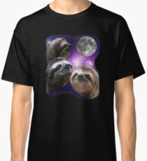 Three Sloths Howling At Moon Like Wolves Classic T-Shirt