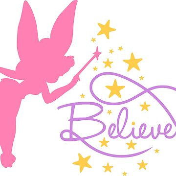 BELIEVE IN MAGIC - FAIRY WITH MAGICAL WAND AND STARS by NotYourDesign
