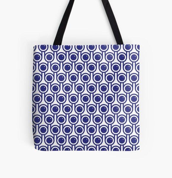 Scandi Midcentury Modern Retro Geometric Blueberries Pattern All Over Print Tote Bag