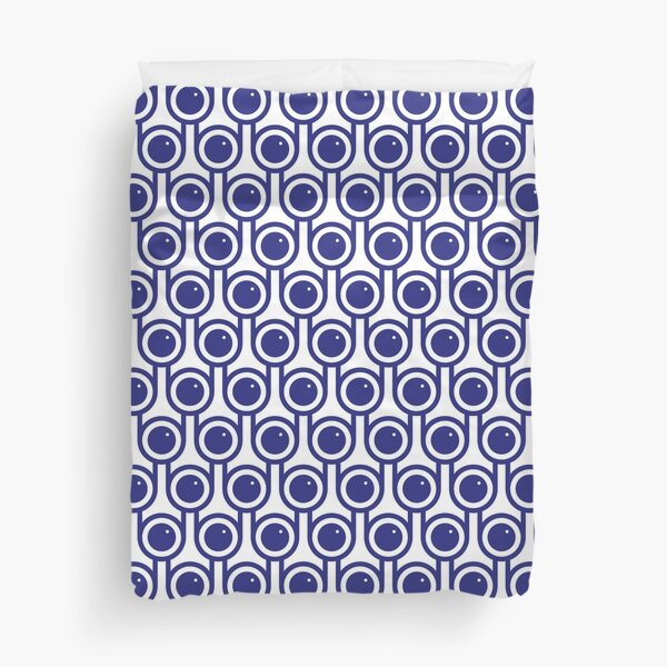 Scandi Midcentury Modern Retro Geometric Blueberries Pattern Duvet Cover