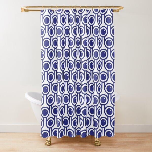 Scandi Midcentury Modern Retro Geometric Blueberries Pattern Shower Curtain