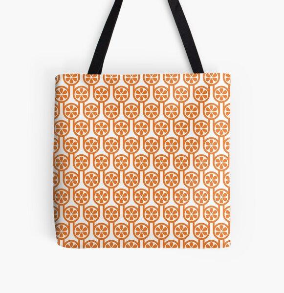 Scandi Midcentury Modern Retro Geometric Oranges Pattern All Over Print Tote Bag