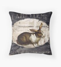 French Farm Sign Rabbit Throw Pillow