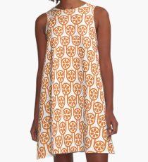 Scandi Midcentury Modern Retro Geometric Oranges Pattern A-Line Dress