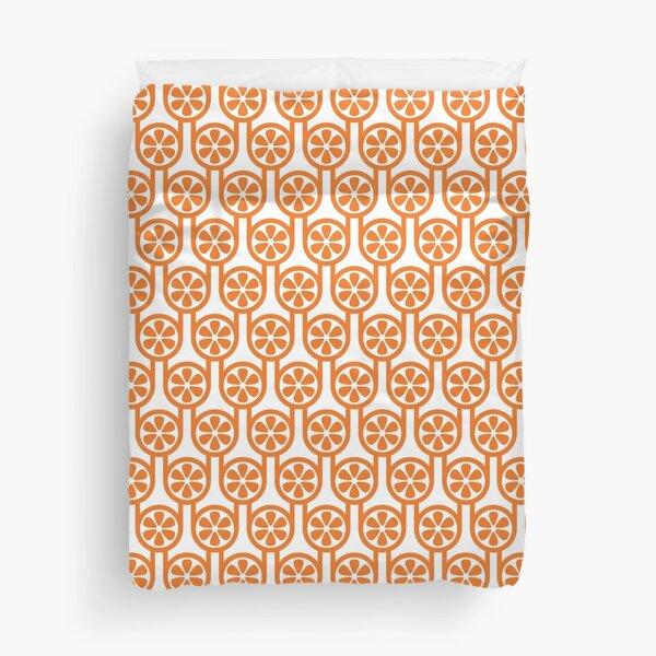 Scandi Midcentury Modern Retro Geometric Oranges Pattern Duvet Cover