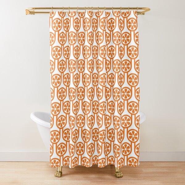 Scandi Midcentury Modern Retro Geometric Oranges Pattern Shower Curtain