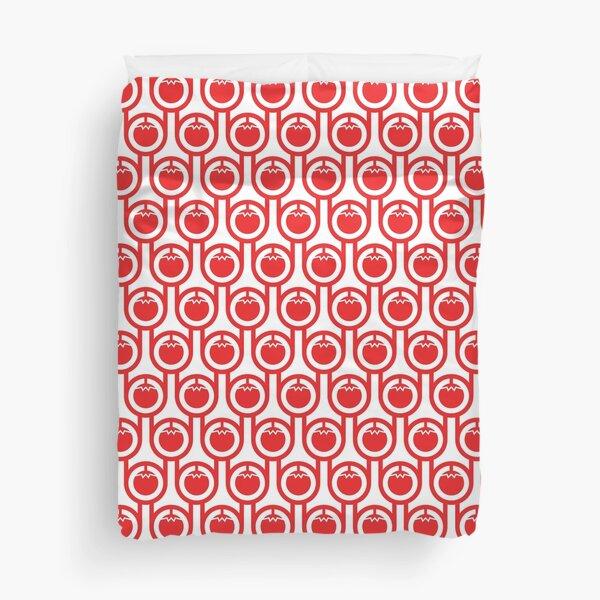 Scandi Midcentury Modern Retro Geometric Tomatoes Pattern Duvet Cover