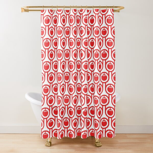 Scandi Midcentury Modern Retro Geometric Tomatoes Pattern Shower Curtain