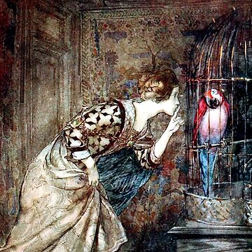 Mary Colven and the Parrot - Arthur Rackham by forgottenbeauty