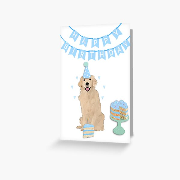 Golden Retriever Happy Birthday Card - Blue Greeting Card