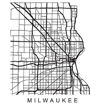 Milwaukee Minimalist City Street Map Dark Design by Andrewkgolf