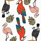 Cute tropical birds pattern by ClaireKang