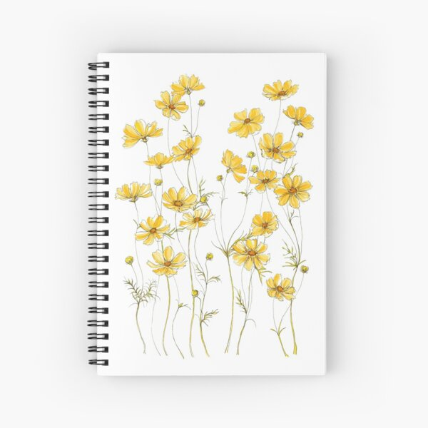 Yellow Cosmos Flowers Spiral Notebook