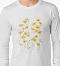 Yellow Cosmos Flowers Long Sleeve T-Shirt