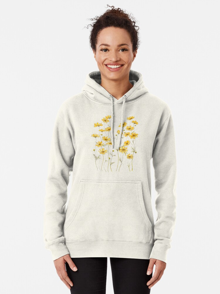 Alternate view of Yellow Cosmos Flowers Pullover Hoodie