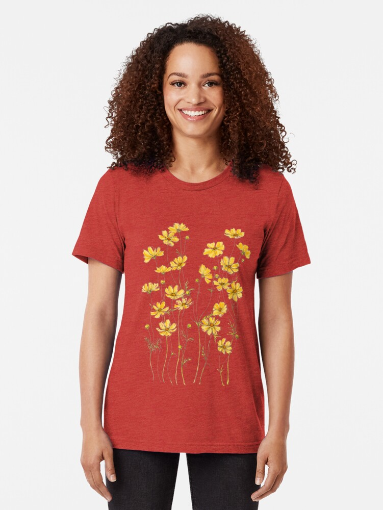 Alternate view of Yellow Cosmos Flowers Tri-blend T-Shirt
