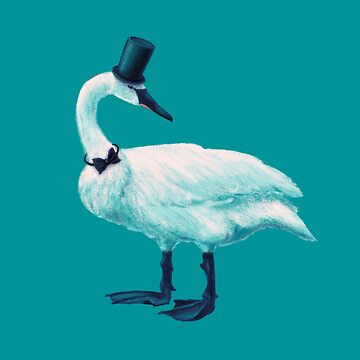 Funny Swan With Bow Tie And Top Hat by azzza