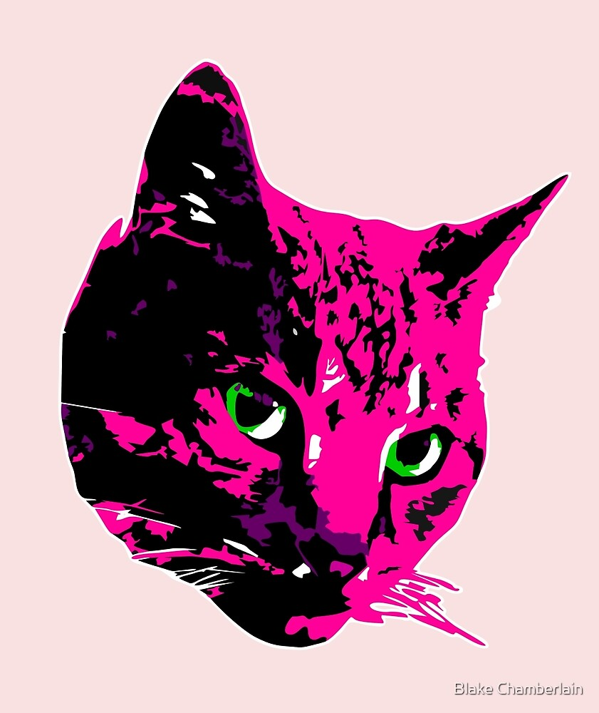 Electric Pink Tabby Face by Blake Chamberlain