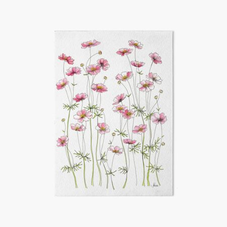 Pink Cosmos Flowers Art Board Print