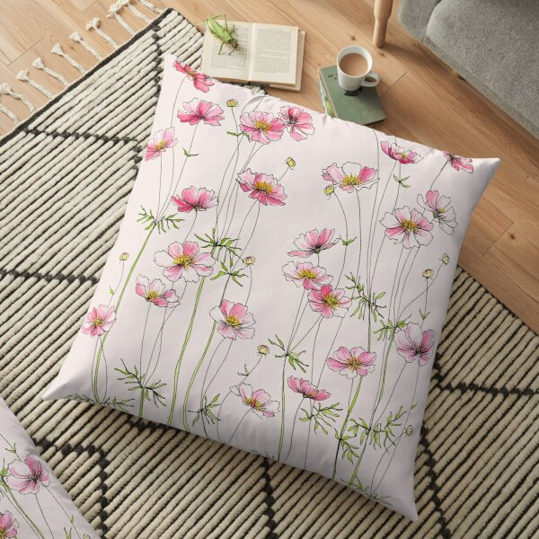 Pink Cosmos Flowers Floor Pillow
