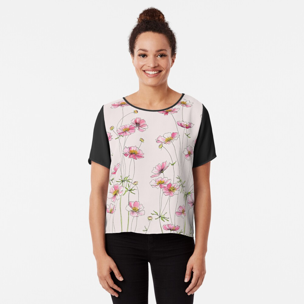 Pink Cosmos Flowers Chiffon Top