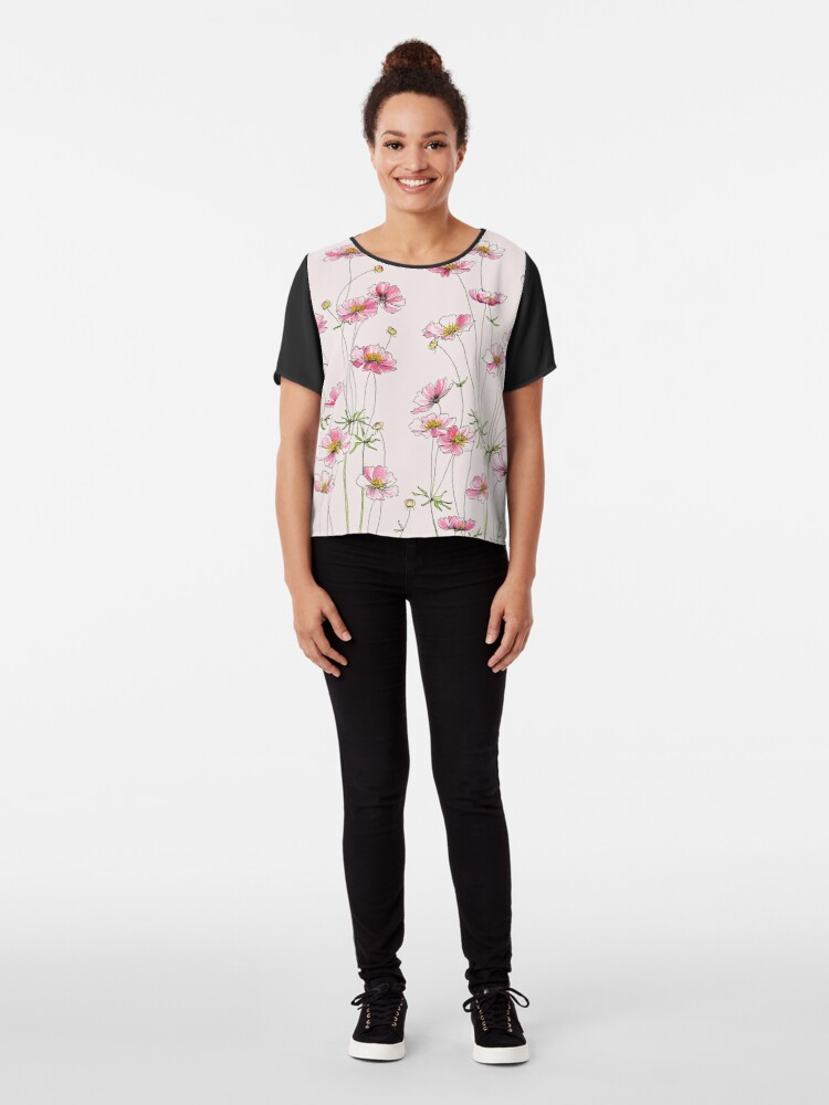 Alternate view of Pink Cosmos Flowers Chiffon Top