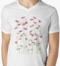 Rosa Kosmosblumen T-Shirt mit V-Ausschnitt