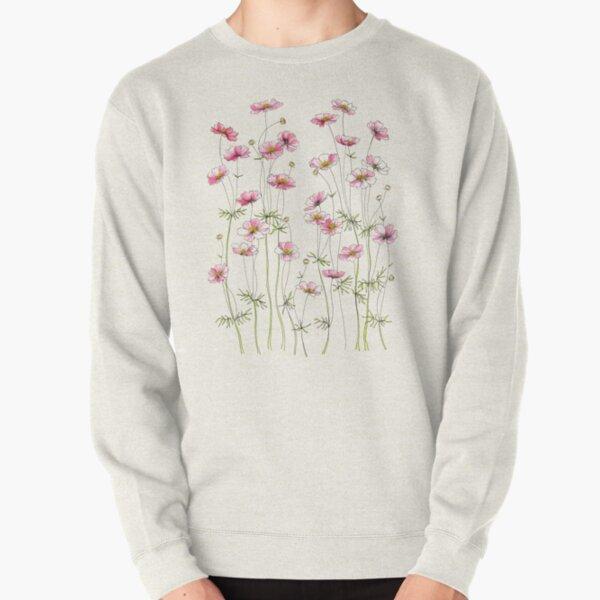Pink Cosmos Flowers Pullover Sweatshirt