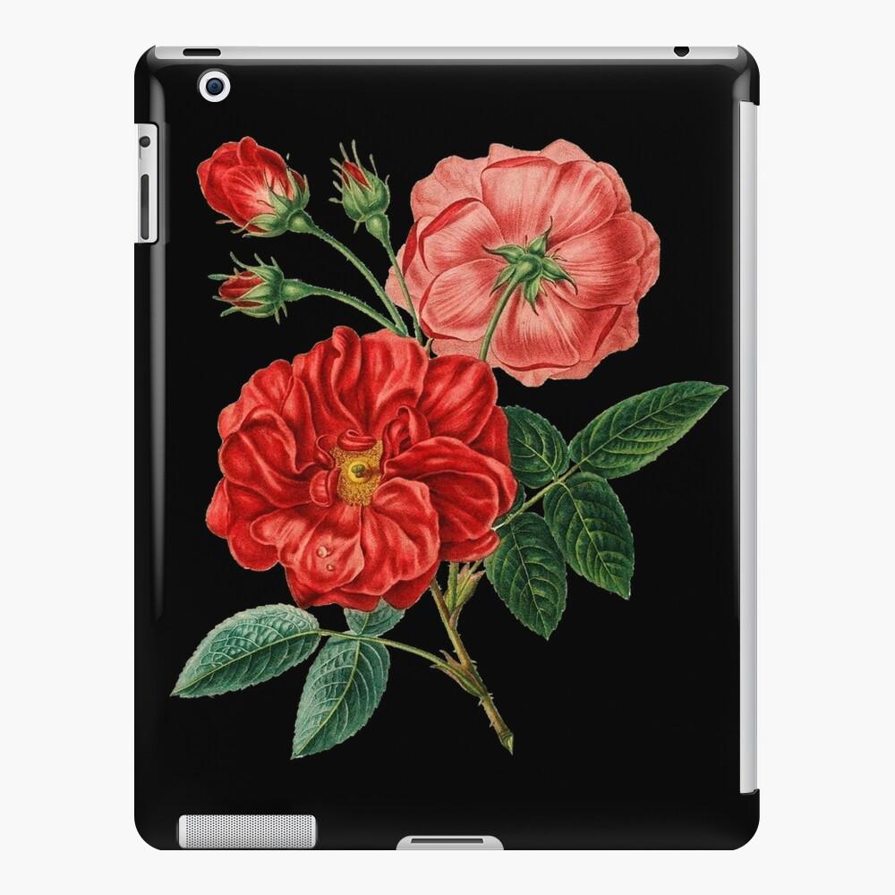 Arte de pintura de jardín de flor de rosa psicodélico vintage retro Funda y vinilo para iPad
