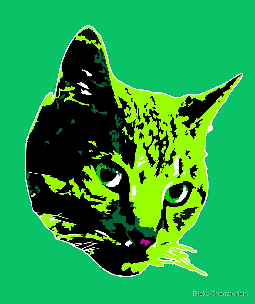 Electric Green Tabby Face by Blake Chamberlain