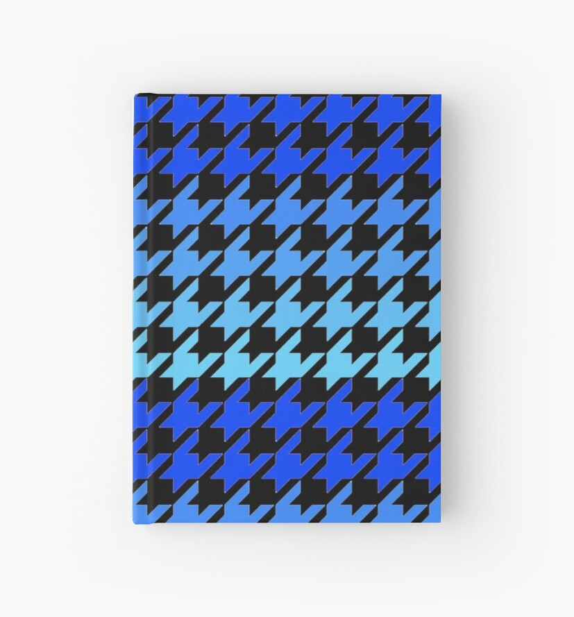 Blue houndstooth pattern hardcover journal by artisticattitud