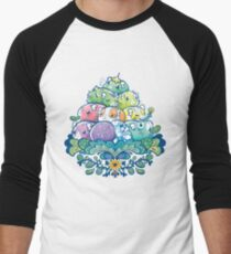 Blooming Piggy Pile  Men's Baseball ¾ T-Shirt
