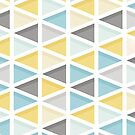 Blue, Mustard and Grey Triangle Pattern by Natalie Tyler