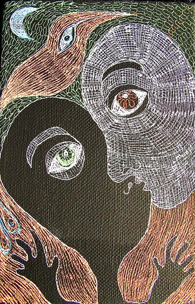 the kiss with moon and bird by donna malone