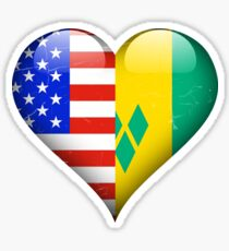 Saint Vincentian Flag Heart - American and St Vincent And The Grenadines Heart Flag for Saint Vincentian  Sticker