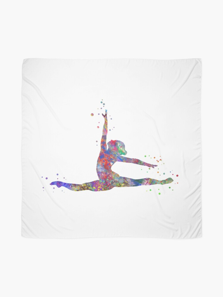 Alternate view of Gymnastics girl, watercolor gymnastics, teen gift Scarf