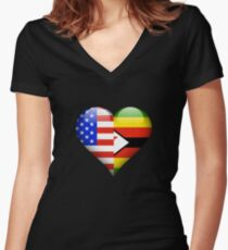 Zimbabwean Flag Heart - American and Zimbabwe Heart Flag for Zimbabwean  Shirt mit V-Ausschnitt