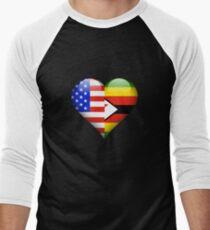 Zimbabwean Flag Heart - American and Zimbabwe Heart Flag for Zimbabwean  Baseballshirt für Männer