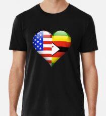 Zimbabwean Flag Heart - American and Zimbabwe Heart Flag for Zimbabwean  Männer Premium T-Shirts