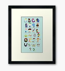 Animated characters abc Framed Print