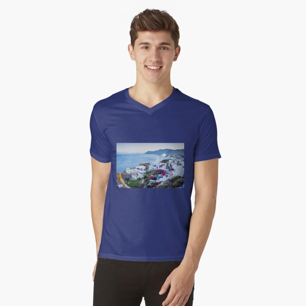 Oia Santorin Griechenland T-Shirt mit V-Ausschnitt