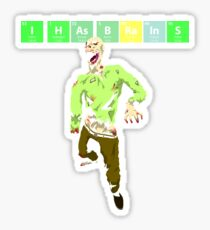 I Has Brains - Periodic Table, Halloween Zombie Sticker