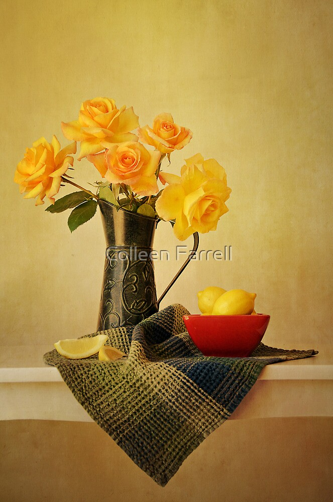 Roses in a Green Pitcher by Colleen Farrell