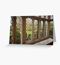 Garden Green Through the Tudor Window: Hall Place, Kent. UK. Greeting Card